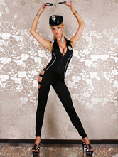 Anime Costumes AF-S2-660417 Sexy Cop Costume Black Jumpsuit With Hat Halloween Police Women Costume