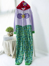 Anime Costumes AF-S2-660359 Kigurumi Pajamas Mermaid Onesie Purple Printed Flower Beaded Polar Fleece Long Sleeve Sleepwear For Adults