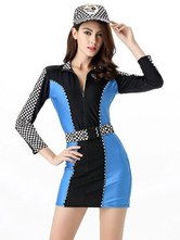 Anime Costumes AF-S2-660311 Sexy Race Car Driver Costume Halloween Women's Blue Checker Dress With Sash And Cap