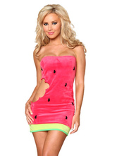 Anime Costumes AF-S2-660383 Sexy Carnival Costume Pink Watermelon Mini Dress Halloween Costume For Women