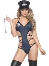 Anime Costumes AF-S2-660373 Sexy Cop Costume Blue Cut Out Romper With Hat Halloween Police Woman Costume