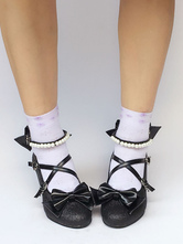Lolitashow Black Lolita Shoes Cross Strap Bow Pumps With Pearl Ankle Strap