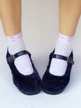 Zapatos de lolita Felpa de puntera redonda Color liso UHZhEMLld