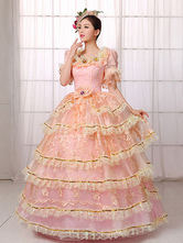 Anime Costumes AF-S2-661357 Women's Vintage Costume Victorian Royal Halloween Ball Gown Pink Lace Ruffled Pageant Dress