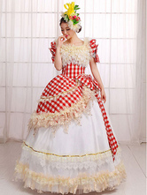 Anime Costumes AF-S2-661351 Women's Vintage Costume Halloween Ball Gown Red Check Pageant Dress