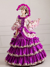 Anime Costumes AF-S2-661367 Women's Vintage Costume Victorian Royal Ball Gown Fuchsia Ruffled Pageant Dress
