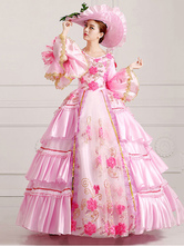 Anime Costumes AF-S2-661375 Women's Vintage Costume Victorian Royal Halloween Ball Gown Pink Pageant Dress