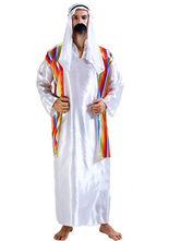 Anime Costumes AF-S2-661317 Arabian Night Costume Halloween Men's White Gown With Headband