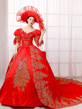 Anime Costumes AF-S2-661349 Women's Vintage Costume Victorian Royal Ball Gown Red Pageant Dress Retro Costume