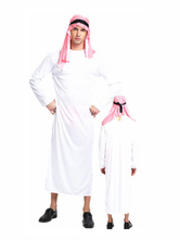 Anime Costumes AF-S2-661293 Arabian Night Costume Halloween Men's White Gown With Headband