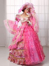 Anime Costumes AF-S2-661393 Women's Vintage Costume Victorian Ball Gown Pink Lace Dress