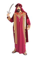 Anime Costumes AF-S2-661281 Arabian Night Costume Halloween Men's Dark Red Gown With Headband