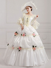 Anime Costumes AF-S2-661381 Women's Vintage Costume Victorian Ball Gown White Pageant Dress With Flowers