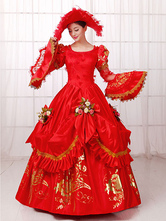 Anime Costumes AF-S2-661399 Women's Vintage Costume Victorian Ball Gown Red Retro Dress With Hat