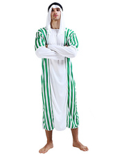 Anime Costumes AF-S2-661327 Halloween Arabian Costume Men's White Stripe Gown With Headband Asian Costume