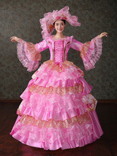 Anime Costumes AF-S2-661403 Women's Vintage Costume Victorian Ball Gown Pink Retro Dress With Hat