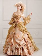 Anime Costumes AF-S2-661385 Women's Vintage Costume Victorian Royal Ball Gown Champagne Dress Retro Costume