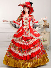 Anime Costumes AF-S2-661365 Women's Vintage Costume Victorian Royal Halloween Ball Gown Red Pageant Dress