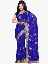 Anime Costumes AF-S2-661345 Women's Indian Costume Halloween Royal Blue Chiffon Dress Asian Costume