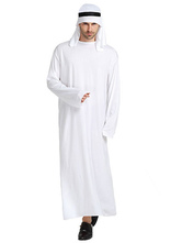 Anime Costumes AF-S2-661325 Halloween Arabian Costume Men's White Gown With Headband Asian Costume