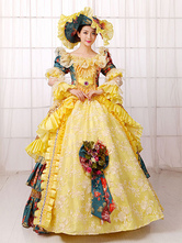 Anime Costumes AF-S2-661397 Women's Vintage Costume Victorian Ball Gown Yellow Retro Dress With Hat