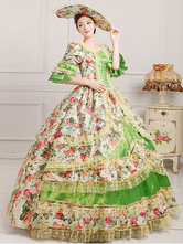 Anime Costumes AF-S2-661405 Women's Vintage Costume Victorian Ball Gown Floral Print Dress With Hat