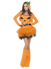 Anime Costumes AF-S2-662055 Halloween Pumpkin Costume Women's Orange Dress Outfit