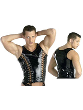 Anime Costumes AF-S2-662109 Men's Sexy Costume Black PU Lace Up Cut Out Slimming Camis