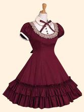 Vestido de Lolita de Popelina con escote Ilusión con manga corta con lazo