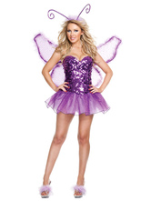 Anime Costumes AF-S2-662405 Halloween Sexy Fairy Costume Butterfly Women's Sequined Purple Party Dress With Wings