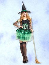 Anime Costumes AF-S2-662423 Sexy Witch Costume Saint Patrick's Day Halloween Women's Green Party Dress Outfit