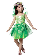 Anime Costumes AF-S2-662417 Halloween Fairy Costume Saint Patrick's Day For Kids The Wizard Of Oz Green Party Dress With Flower Headgear