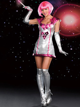 Anime Costumes AF-S2-662389 Halloween Sexy Costume Alien Fantasy Women's Silver Dress With Gloves