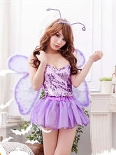 Anime Costumes AF-S2-662397 Halloween Sexy Fairy Costume Butterfly Women's Sequined Purple Skirt Outfit With Wings