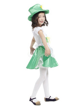 Anime Costumes AF-S2-662431 Halloween Fairy Costume For Kids Saint Patrick's Day Green Party Dress With Hat