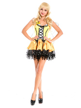 Anime Costumes AF-S2-662407 Halloween Sexy Fairy Costume Women's Yellow Party Dress With Wings