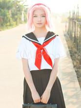 Naruto Haruno Sakura Cosplay Costume School Girl Uniform Halloween