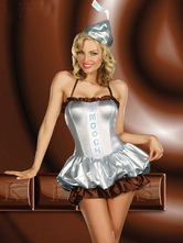 Anime Costumes AF-S2-662387 Halloween Sexy Costume Alien Fantasy Women's Silver Dress With Headgear