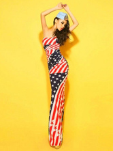 Anime Costumes AF-S2-663967 Sexy Patriotic Costumes Halloween Women's American Flag Bodycon Maxi Dress