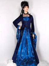 Anime Costumes AF-S2-663945 Women's Vintage Costume Halloween Deep Blue Flannel Gown