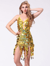 Anime Costumes AF-S2-664401 Latin Dance Costume Women's Gold Sequined Dress