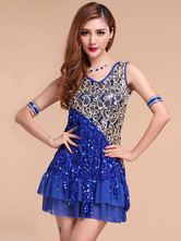 Anime Costumes AF-S2-664435 Latin Dance Costume Women's Royal Blue Sequined Dress Ballroom Costume