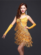 Anime Costumes AF-S2-664425 Latin Dance Costume Women's Gold Sequined Dress Outfit