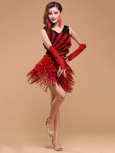 Anime Costumes AF-S2-664437 Latin Dance Costume Women's Red Sequined Skirt Ballroom Costume