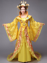 Anime Costumes AF-S2-664461 Women's Chinese Costume Halloween Ancient Empress Yellow Sequined Fancy Dress