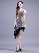 Anime Costumes AF-S2-664421 Latin Dance Costume Women's Silver Sequined Dress