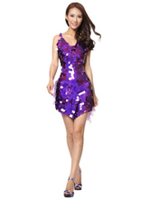 Anime Costumes AF-S2-664409 Latin Dance Costume Women's Purple Sequined Dress