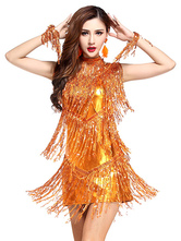 Dance Costumes Latin Dancer Dresses Women Orange Sequined Outfit Dancing Clothes Halloween