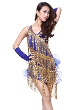 Anime Costumes AF-S2-664407 Latin Dance Costume Women's Royal Blue Dress With Gloves