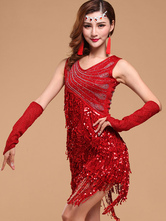 Anime Costumes AF-S2-664441 Latin Dance Costume Women's Red Sequined Fringe Dress Ballroom Costume